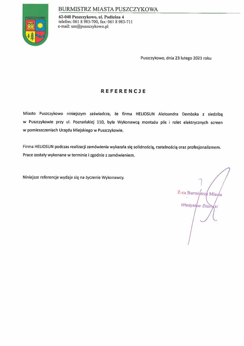 Referencje Burmistrz Miasta Puszczykowo